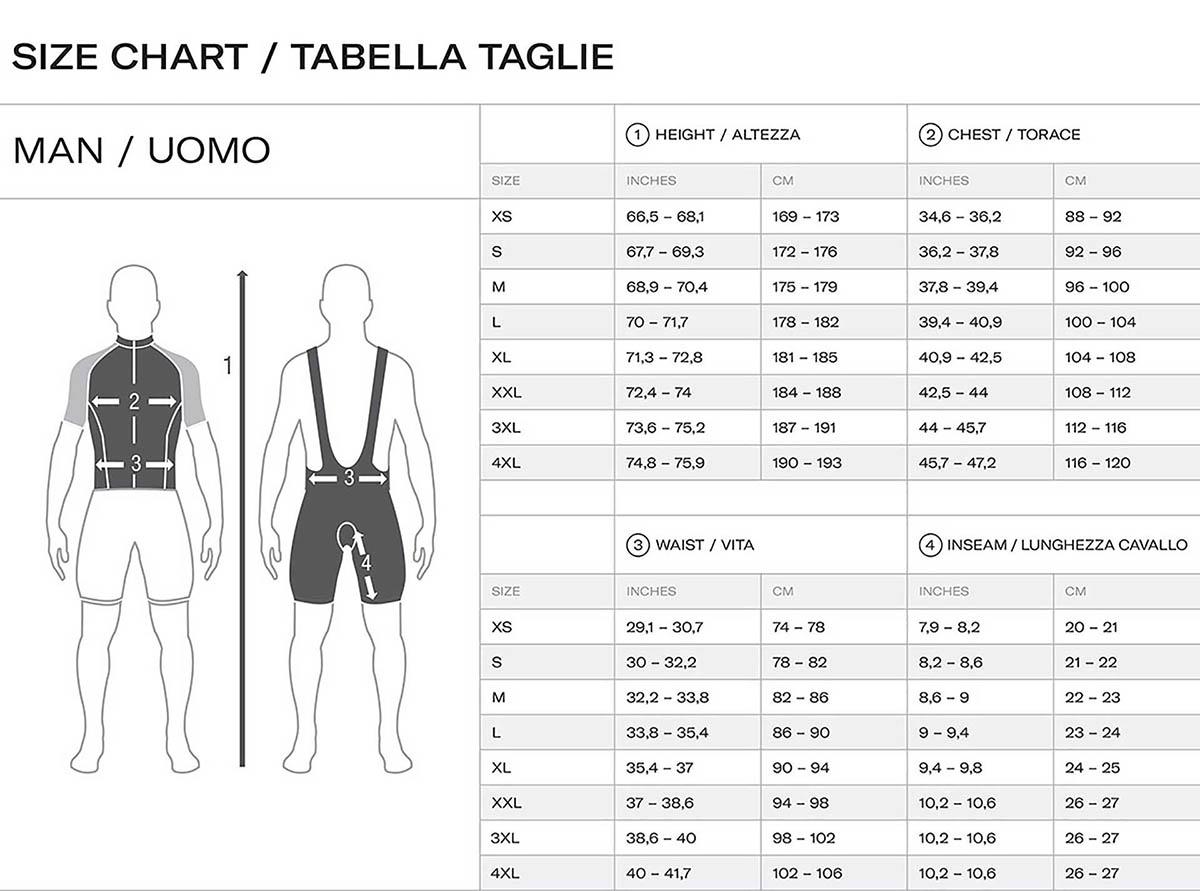 Guía tallas Santini TREK SEGAFREDO